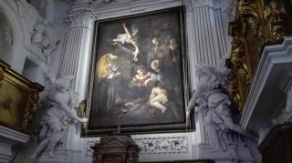Copia della Natività del Caravaggio all'interno dell'Oratorio di S. Lorenzo