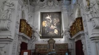Copia della Natività del Caravaggio all'interno dell'Oratorio S. Lorenzo